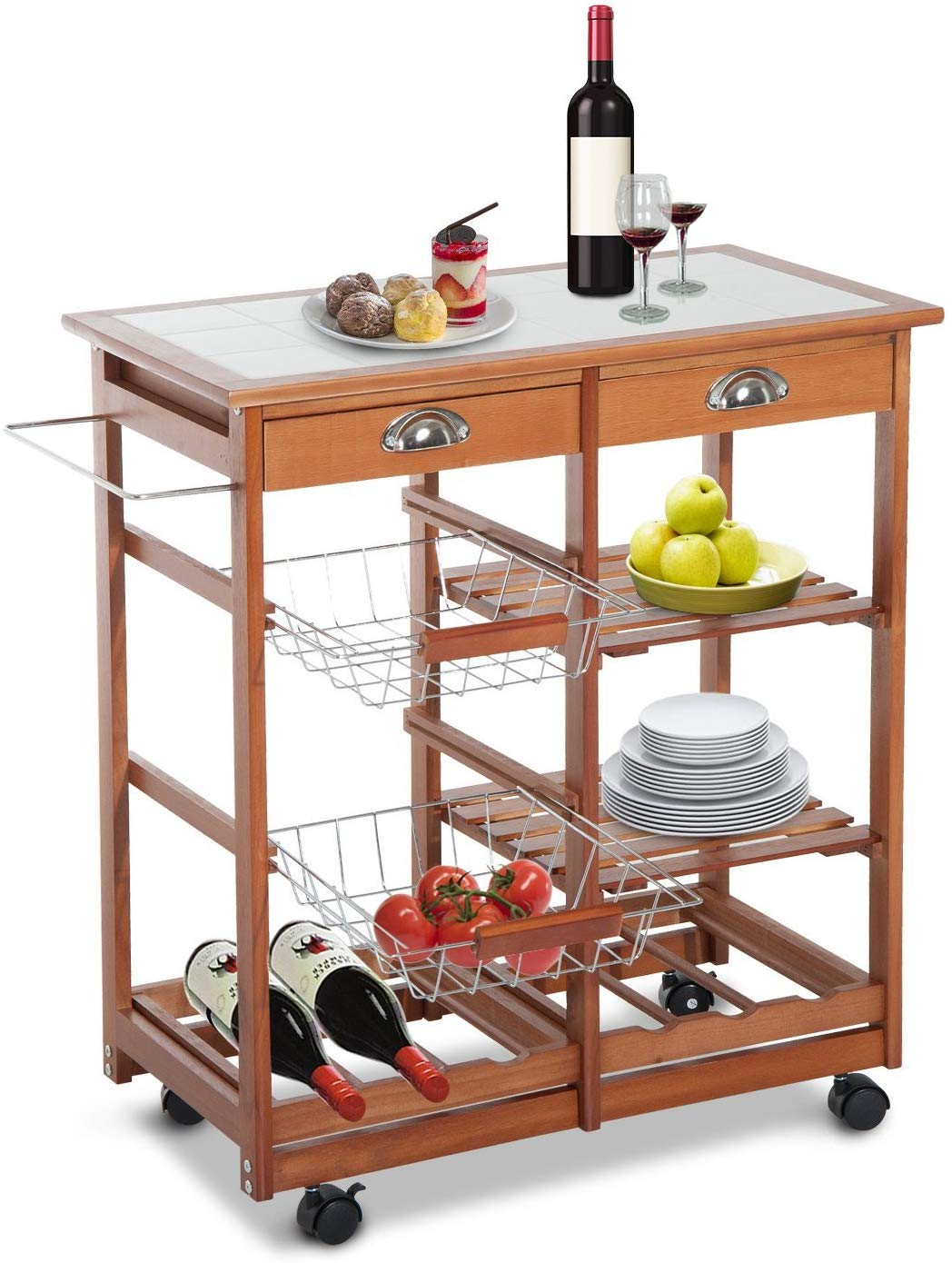 Hom com rolling tile top wooden kitchen trolley microwave cart