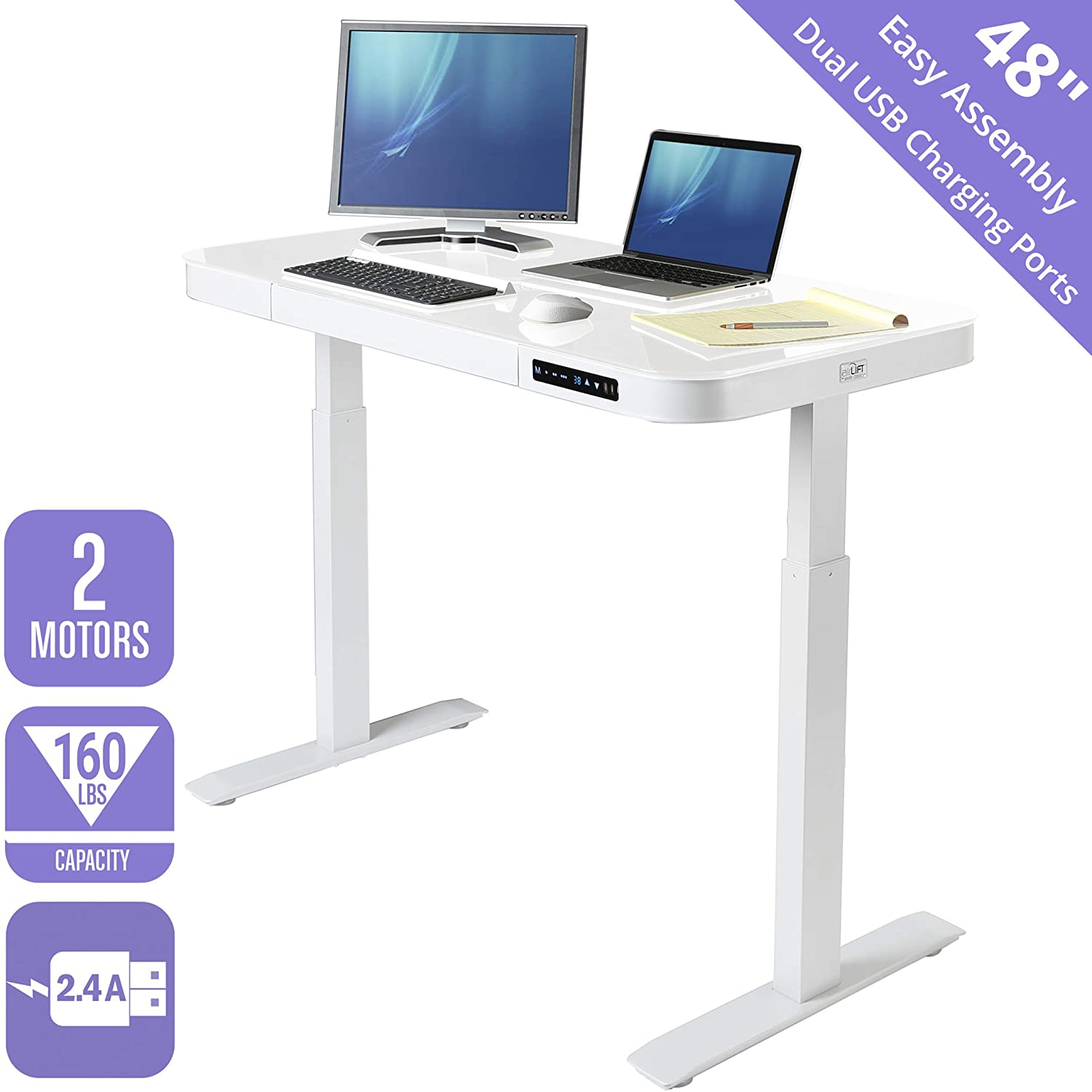 Seville classics airlift tempered glass electric standing desk with drawer