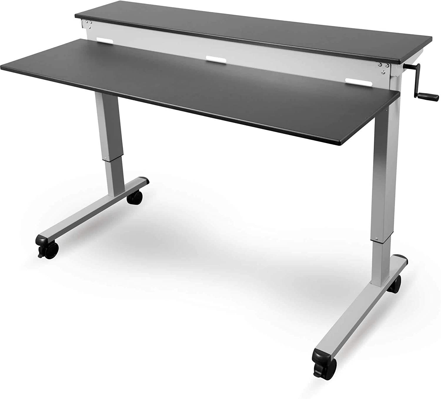 60? crank adjustable height sit to stand up desk with heavy duty steel frame